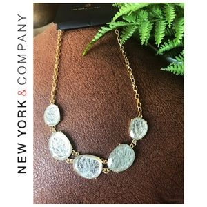 New York & company:Gold Necklace In Dichroic Glass